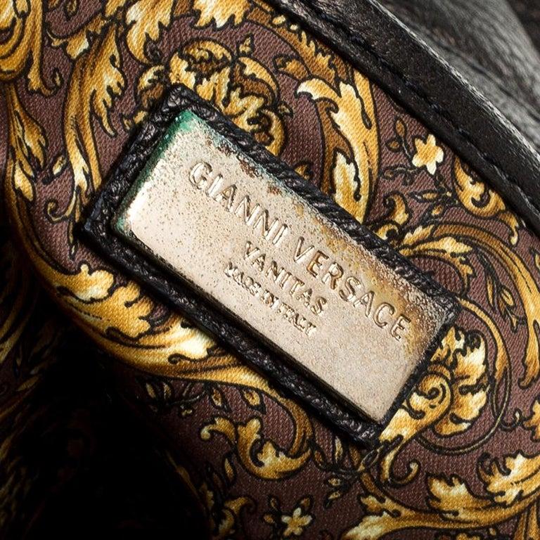 Versace Dark Bronze Leather Vanitas Satchel For Sale 3