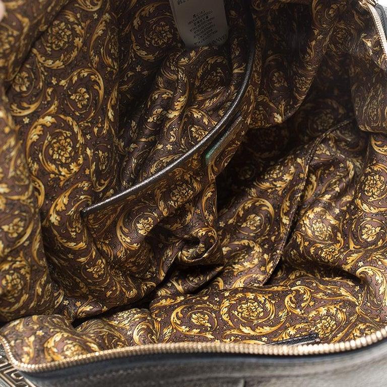 Versace Dark Bronze Leather Vanitas Satchel For Sale 4