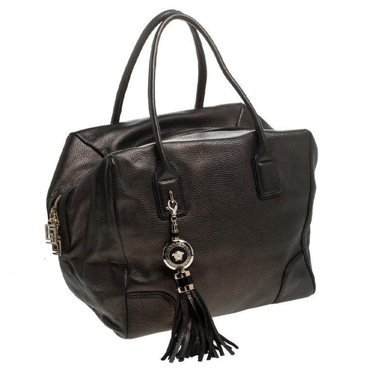 Versace Dark Bronze Leather Vanitas Satchel For Sale 5