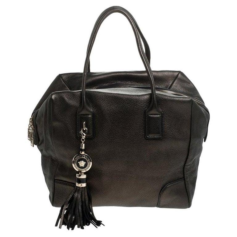Versace Dark Bronze Leather Vanitas Satchel For Sale
