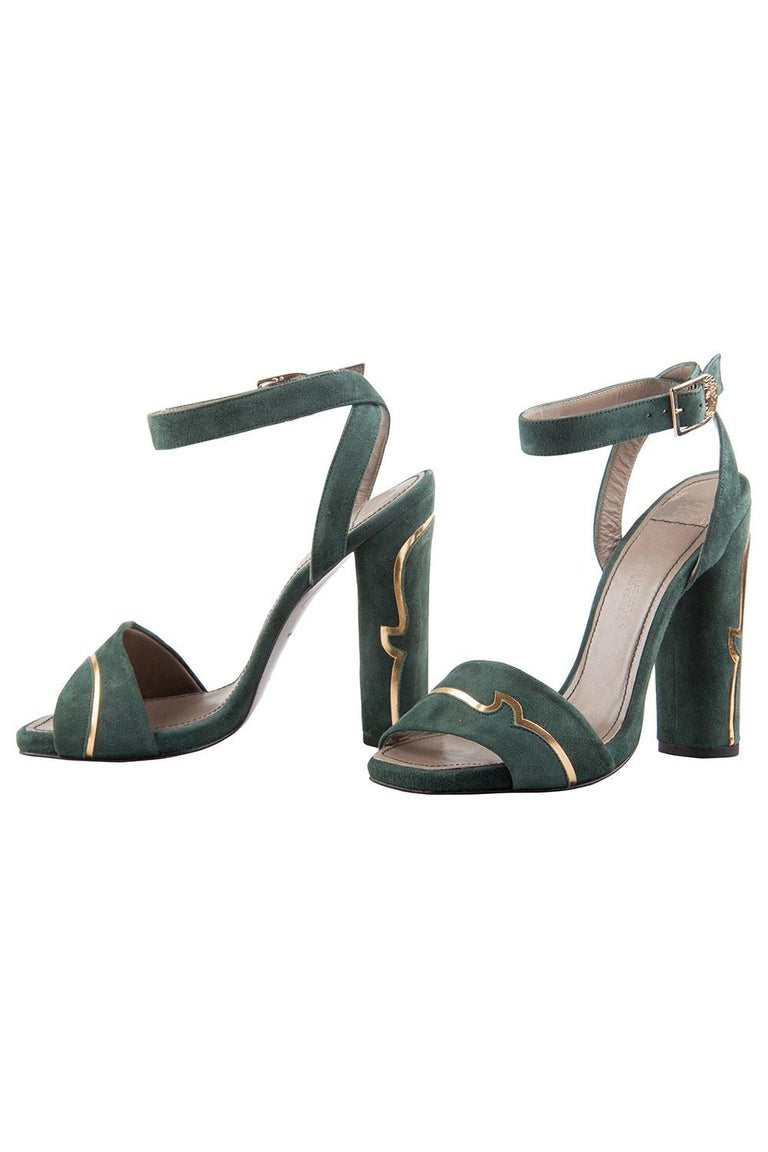 Black Versace Dark Green And Gold Suede Ankle Strap Sandals Size 37