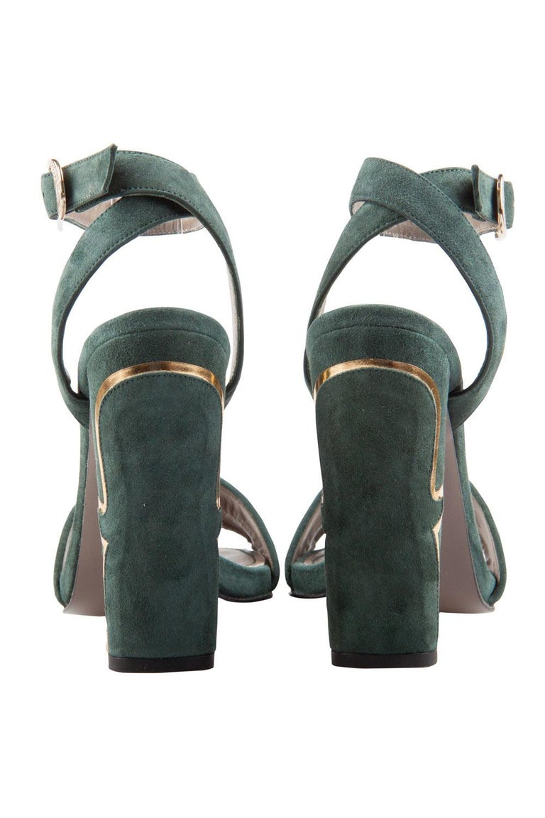Versace Dark Green And Gold Suede Ankle Strap Sandals Size 37 In New Condition In Dubai, Al Qouz 2