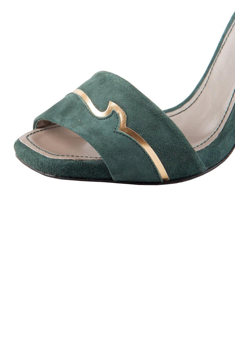 Versace Dark Green And Gold Suede Ankle Strap Sandals Size 37 1