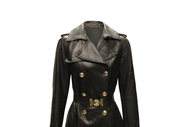 Women's Versace Double Breasted Leather Trench Coat