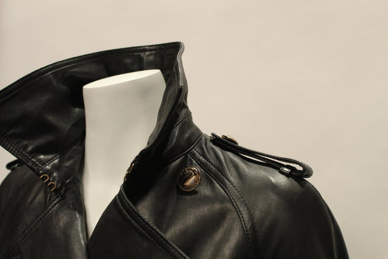 Versace Double Breasted Leather Trench Coat 1