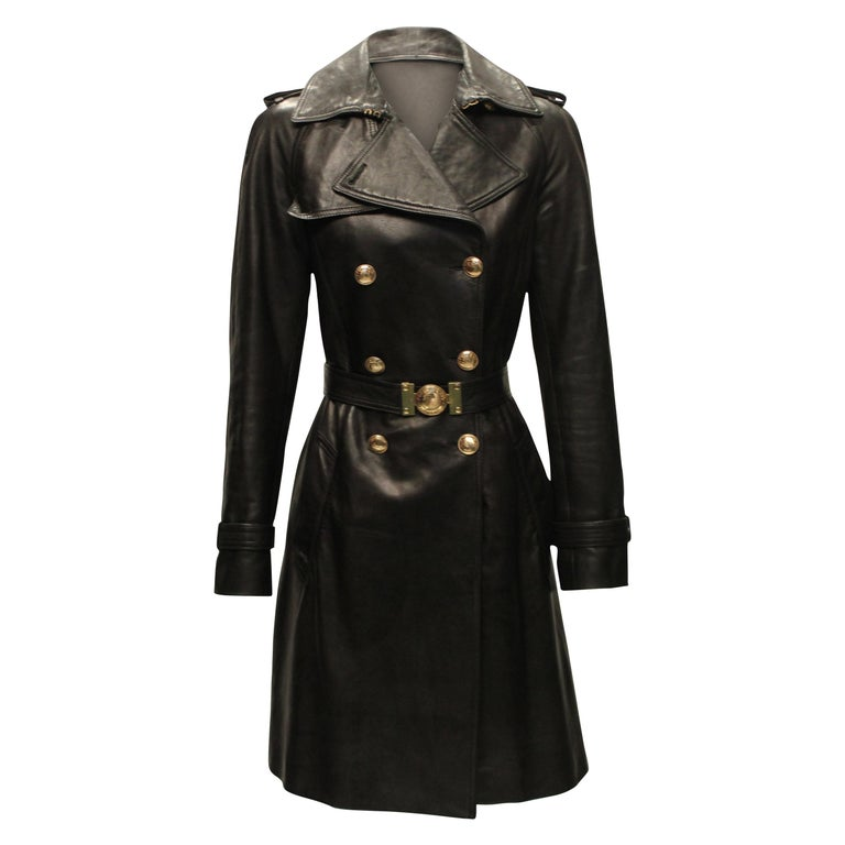 Versace Double Breasted Leather Trench Coat