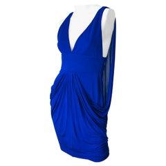 Versace Early 2000s Purple Cape Back Jersey Sleeveless Avant Garde Dress Sz 42