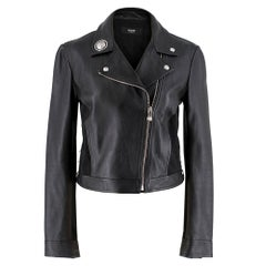 Versace Embellished Asymmetric Leather Jacket IT 42