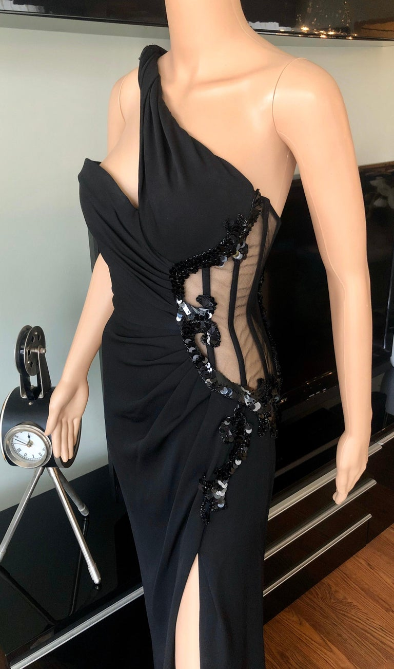 Women's Versace Embellished Bustier Sheer One Shoulder Black Evening Dress Gown  For Sale