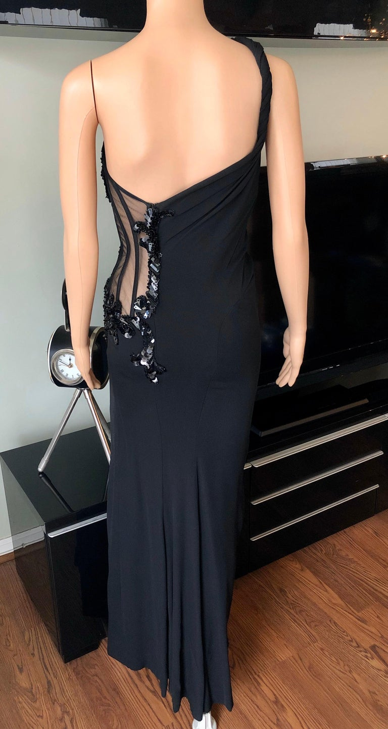 Versace Embellished Bustier Sheer One Shoulder Black Evening Dress Gown  For Sale 2