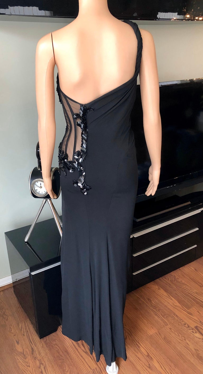 Versace Embellished Bustier Sheer One Shoulder Black Evening Dress Gown  For Sale 4