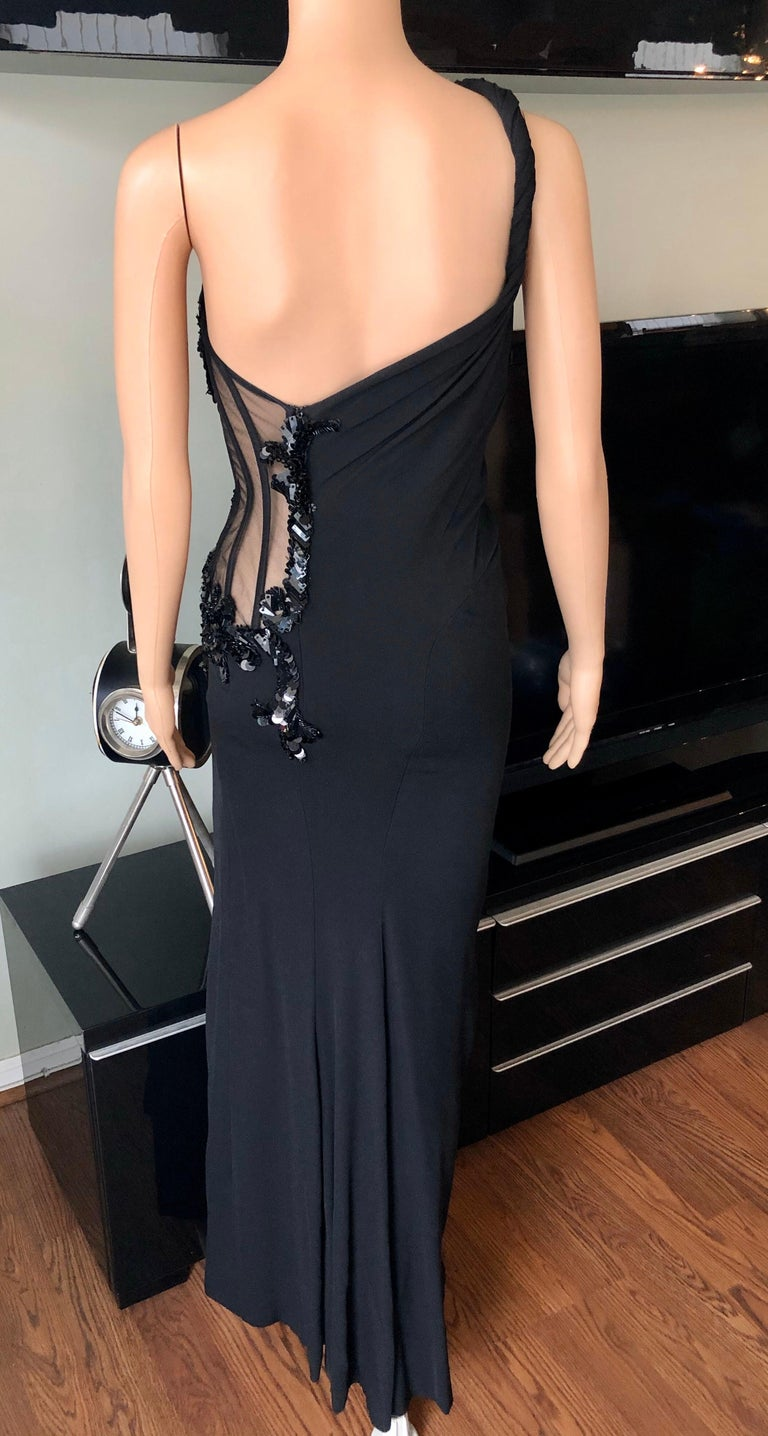 Versace Embellished Bustier Sheer One Shoulder Black Evening Dress Gown  For Sale 5