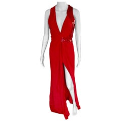 Versace Embellished Plunged Cutout Back Red Dress Gown