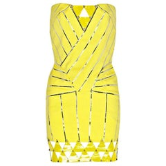 VERSACE Embellished Yellow Stretch Mini Dress with Patent Leather Detail