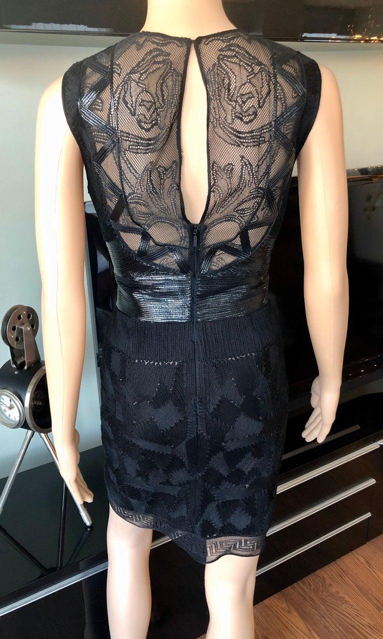 Versace Embroidered Sheer Mesh Panels Black Mini Dress For Sale 1