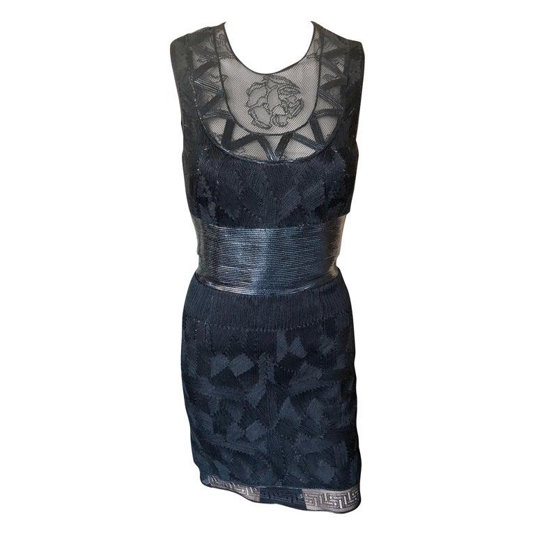 Versace Embroidered Sheer Mesh Panels Black Mini Dress For Sale