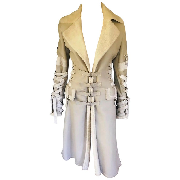 Versace F/W 2003 Runway Corset Ties Lace Up Beige Shearling Jacket Coat For Sale
