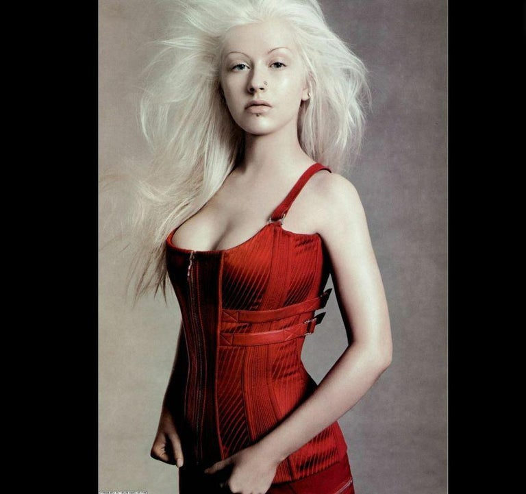 Women's Versace F/W 2003 Runway Leather Bondage Red Corset Top  For Sale
