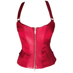 Versace F/W 2003 Runway Leather Bondage Red Corset Top