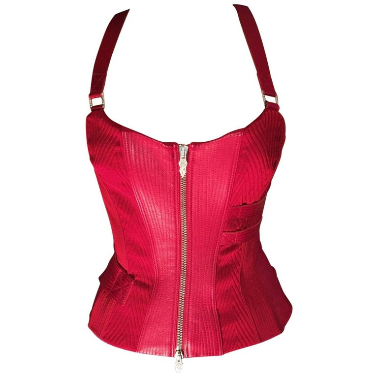 Versace F/W 2003 Runway Leather Bondage Red Corset Top  For Sale