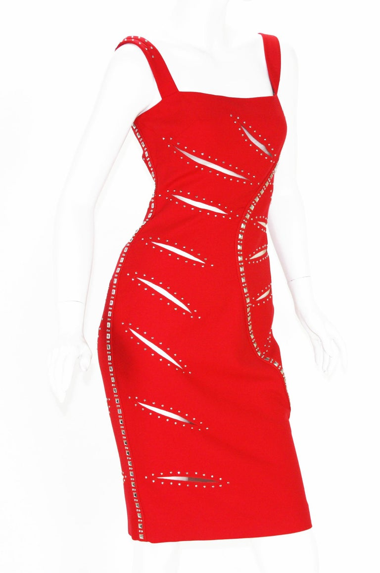 Women's Versace F/W 2004 Runway Red Sheer Mesh Cut Out Studded Cocktail Dress It. 38 For Sale