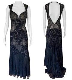 Versace F/W 2005 Runway Bustier Sheer Lace Open Back Black Evening Dress Gown