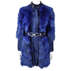 Versace F/W 2006 Blue Fox Fur Coat with Matching Belt and Original Tag
