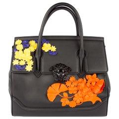 Versace Floral Medusa Leather Palazzo Empire Bag w/ 2 Detachable Shoulder Straps