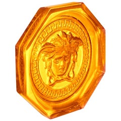 Versace for Rosenthal Medusa Lumiere Amber Crystal Coaster Limited Edition