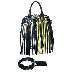 VERSACE FRINGED VANITAS BLACK/YELLOW/WHITE SMALL HANDBAG/SHOULDER Bag