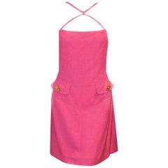 Versace Fuschia Crisscross Strap Dress 48 EU