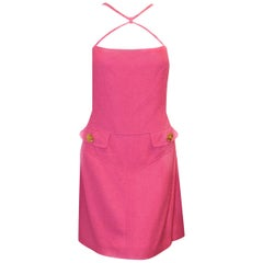 Versace Fuschia Crisscross Strap Dress