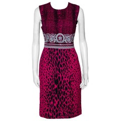 Versace Fuschia Pink Animal & Baroque Print Sheath Dress M