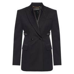 "Versace FW19 Runway Black Wool ""Bondage"" Open Back Blazer Jacket Size 38"