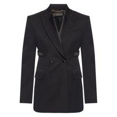"Versace FW19 Runway Black Wool ""Bondage"" Open Back Blazer Jacket Size 40"
