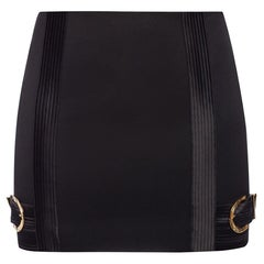 Versace FW19 Runway Black Wool Mini Skirt with Gold Tone Buckles Size 38
