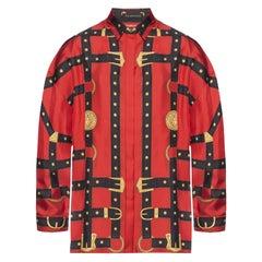 "Versace FW19 Runway Red & Black ""Bondage"" Long Sleeve Silk Shirt Size 40"