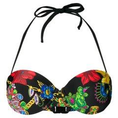"Versace ""Gioelleria Jetés"" Print Floral Gemstone Halter Neck Bikini Top Size 2B"
