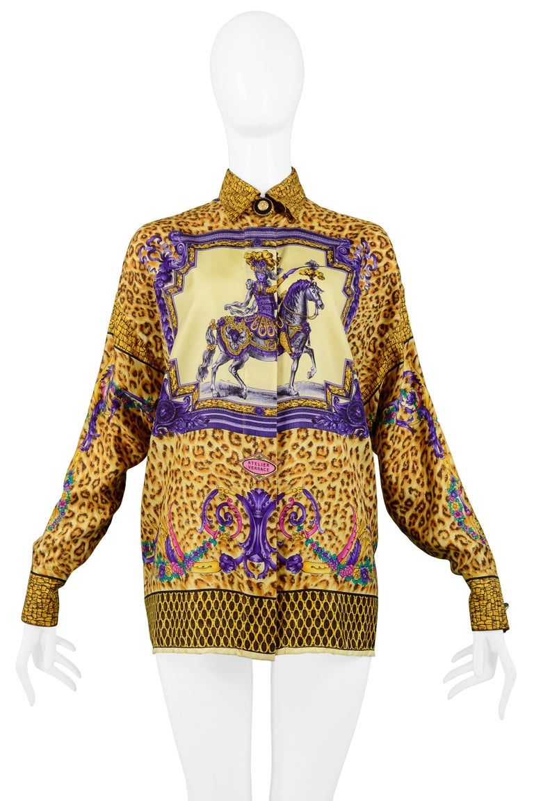 Versace Gold Baroque & Leopard Print Silk Blouse With Equestrian Rider  In Good Condition For Sale In Los Angeles, CA