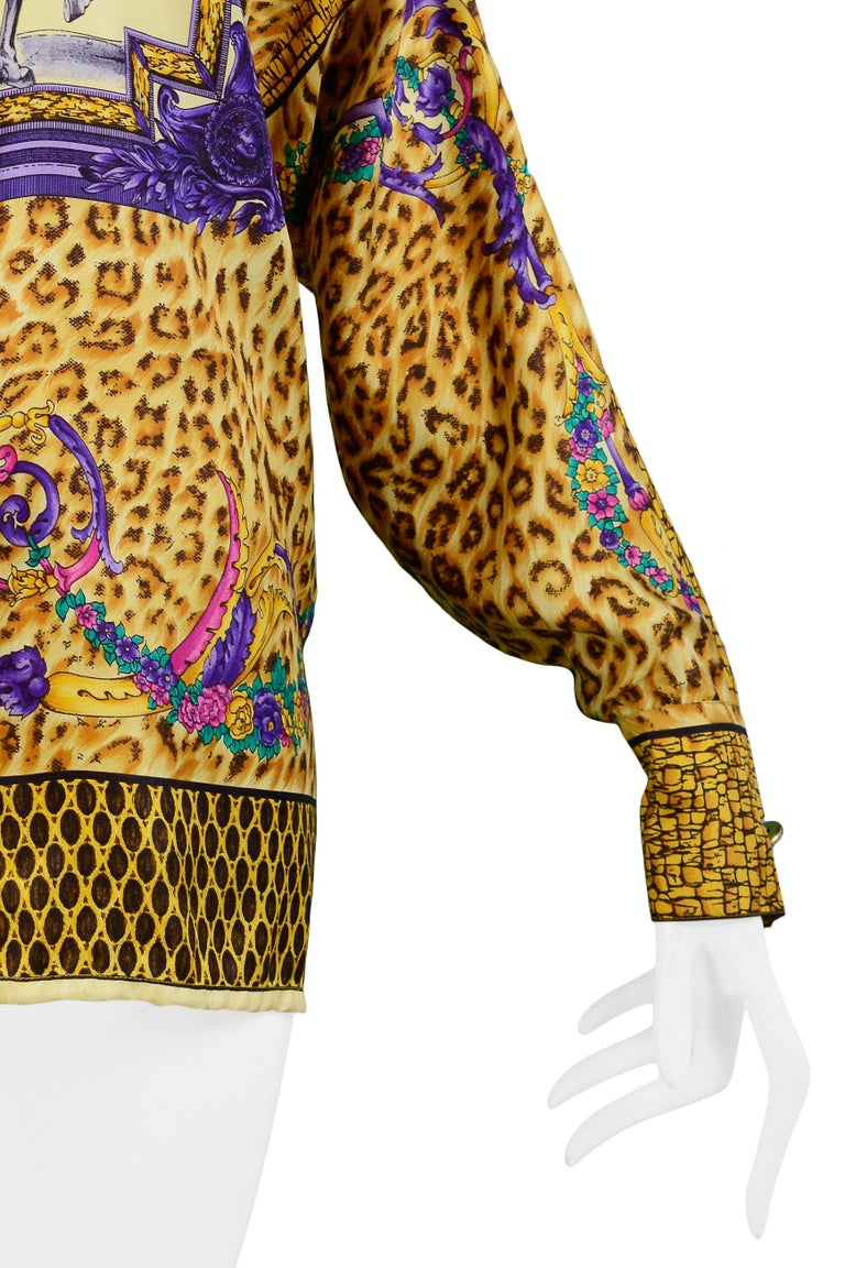 Women's Versace Gold Baroque & Leopard Print Silk Blouse With Equestrian Rider  For Sale