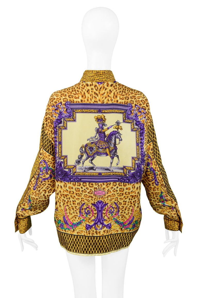 Versace Gold Baroque & Leopard Print Silk Blouse With Equestrian Rider  For Sale 1