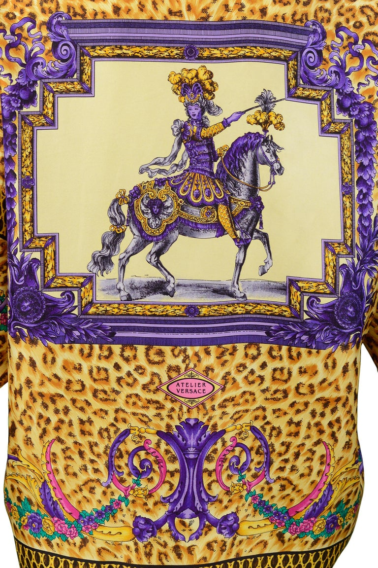 Versace Gold Baroque & Leopard Print Silk Blouse With Equestrian Rider  For Sale 2