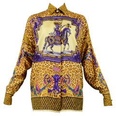 Versace Gold Baroque & Leopard Print Silk Blouse With Equestrian Rider