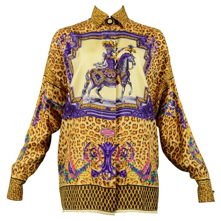 Versace Gold Baroque & Leopard Print Silk Blouse With Equestrian Rider  For Sale