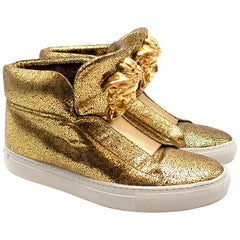 Versace Gold Crackle Leather Medusa High Top Sneakers 38