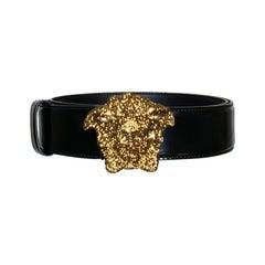 VERSACE Gold CRYSTAL EMBELLISHED 3D MEDUSA BLACK PAT. LEATHER BELT 75/30; 95/38