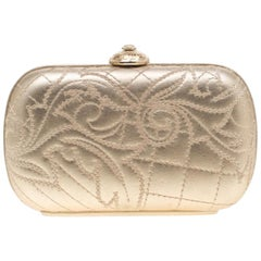 Versace Gold Leather Medussa Lock Clutch