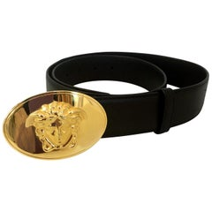 Versace Gold Medusa Medallion Calf Leather Belt