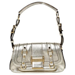 Versace Gold Metallic Leather Buckle Flap Shoulder Bag