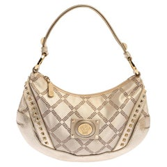 Versace Gold Monogram Canvas and Leather Studded Hobo